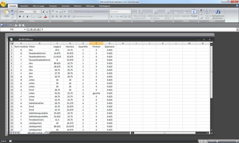 Exportations des données .csv (Microsoft Excel)