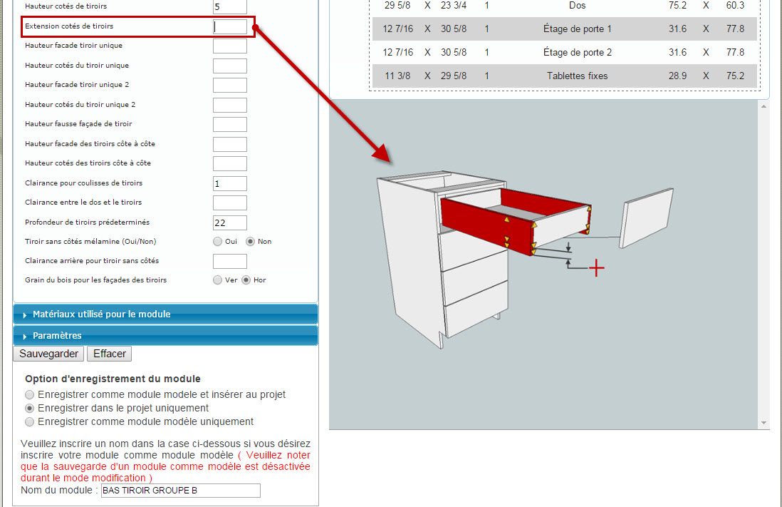 Extension cotés de tiroirs